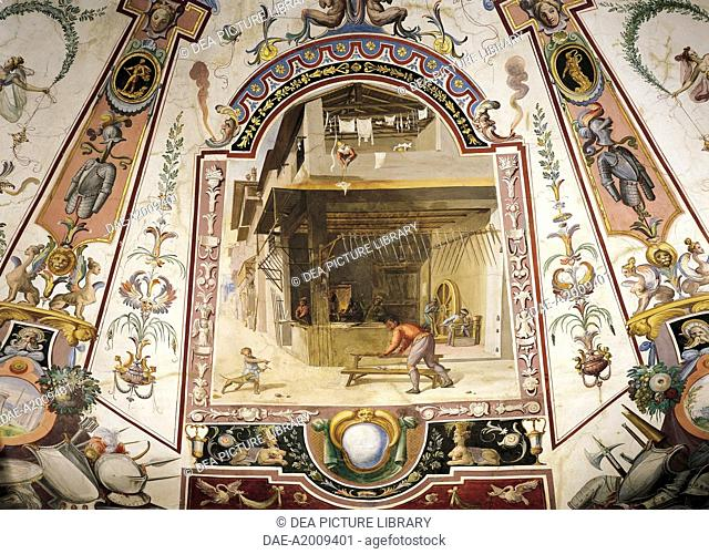 The manufacture of weapons and grotesque, paintings in tempera with gold touches, by Ludovico Buti (1560-1610). Vault of Room 23, Armory, Uffizi Palace