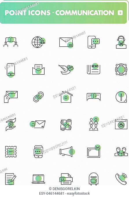 Set of 30 line icons. Communication collection. Vector illustration or communion with people, social networks, contact us