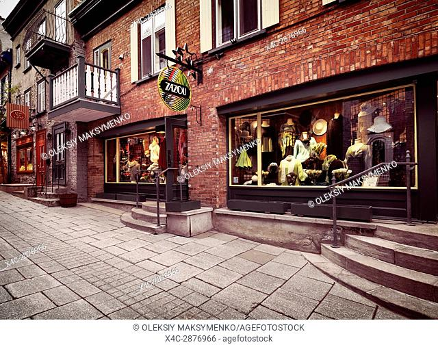 Zazou fashion clothing store on Rue Petit Champlain historic street in Old Quebec City, Canada. Rue du Petit-Champlain, Ville de Québec