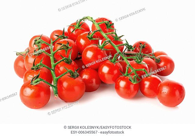 Branches of cherry tomatoes isolated on white