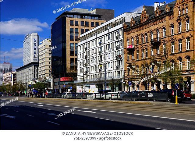 Marszalkowska street, city center of Warsaw, Poland, Europe