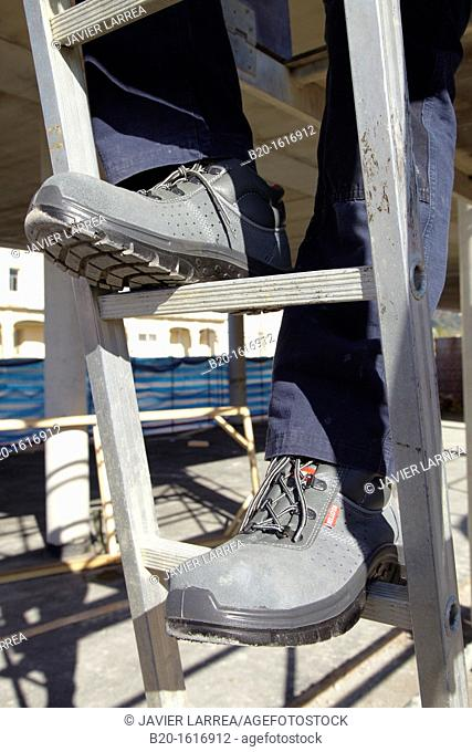 Footwear for professional use, Protective boots, construction worker, Ladder, Donostia, San Sebastian, Gipuzkoa, Basque Country, Spain