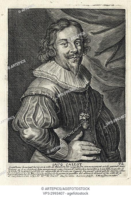 JACQ CALLOT - Woodcut portrait and short biography (old french language) - Engraving 17th century