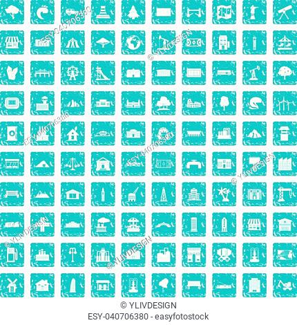 100 landscape element icons set in grunge style blue color isolated on white background vector illustration