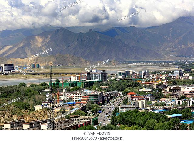 View of Lhasa city from Potala Palace, Lhasa, Tibet, China