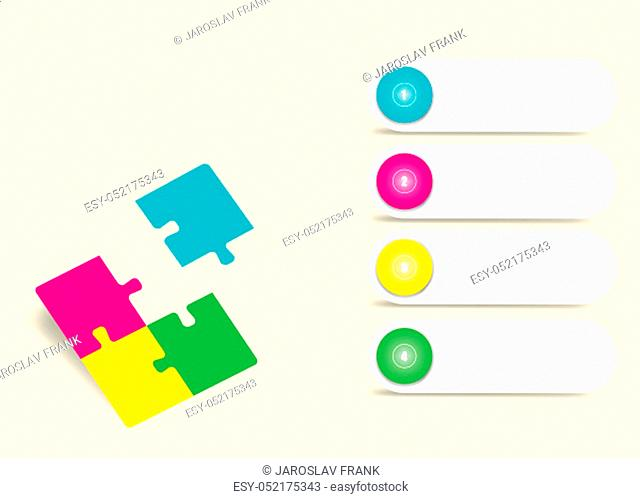 Infographics vector of four colorful puzzle pieces, one of them is flying ready for your text. Four white numbered labels are ready for your text