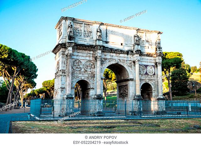 Arch of Constantine At Sunrise In Rome, Italy