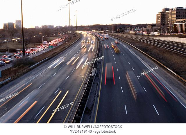 Traffic on a highway in Toronto Ontario Canada