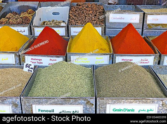 Typical spices of Morocco in Marrakech, Africa