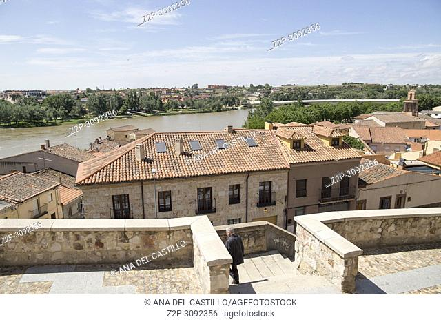Zamora cityscape and Duero river, Castile Leon Spain