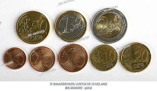 Euro and Cent coins, 1 Cent, 2 Cent, 5 Cent, 10 Cent, 20 Cent, 50 Cent, 1 euro, 2 euro coins, Germany, Europe