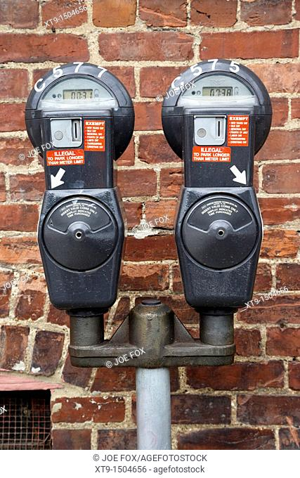 car parking meters with valid timers in downtown Nashville Tennessee USA