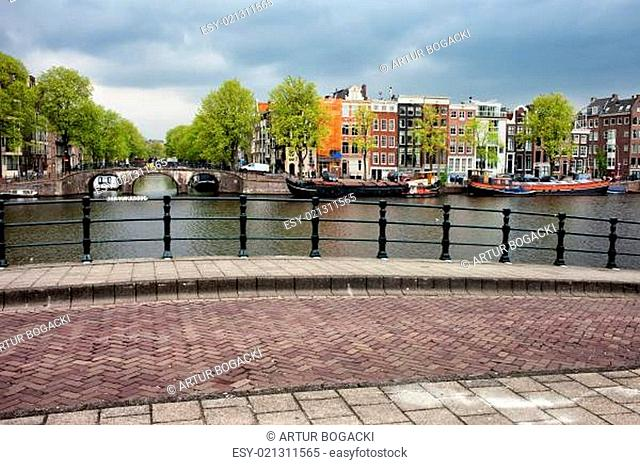 Dutch Houses by the Amstel River in Amsterdam