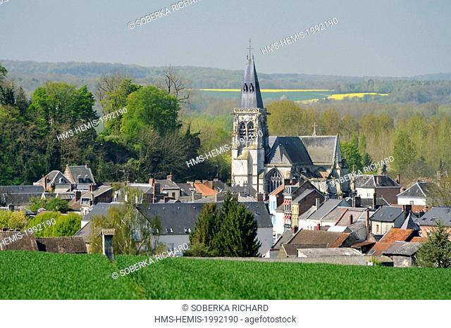 France, Somme, Conty, eastern view on the church of Saint Antoine