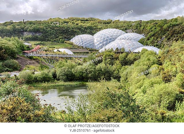 View over the Eden Project compound in Cornwall, England, UK