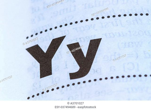 closeup letter Y in dictionary, soft focus