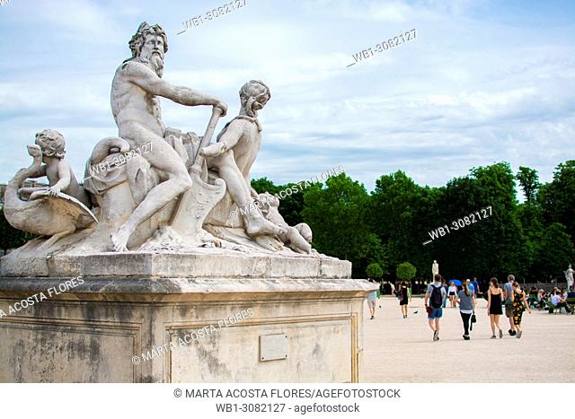 La Seine et la Marne statue group by Nicolas Coustou, in a sunny day. Jardin des Tuileries, Paris, France