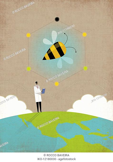 Scientist researching bees on top of the globe