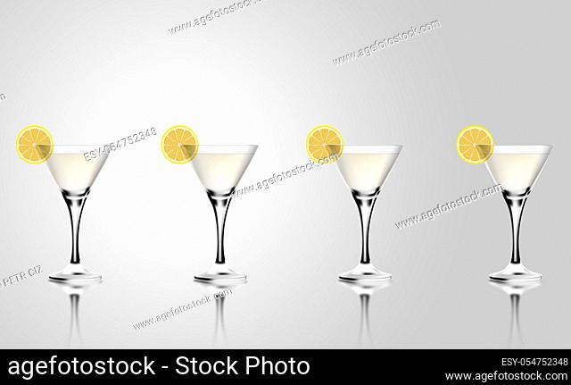 Martini cocktail glass with lemon. Realistic mixed alcoholic beverage