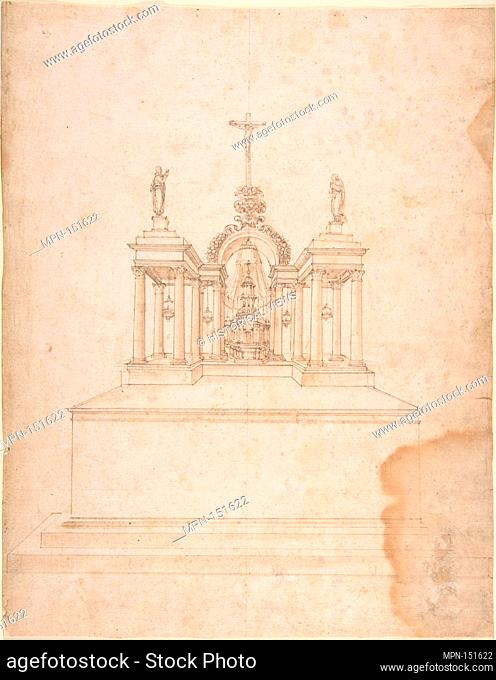 Design for a Tabernacle Surmounted by Christ on the Cross and Praying Figures (the Virgin and Saint John?). Artist: Galeazzo Alessi (Italian