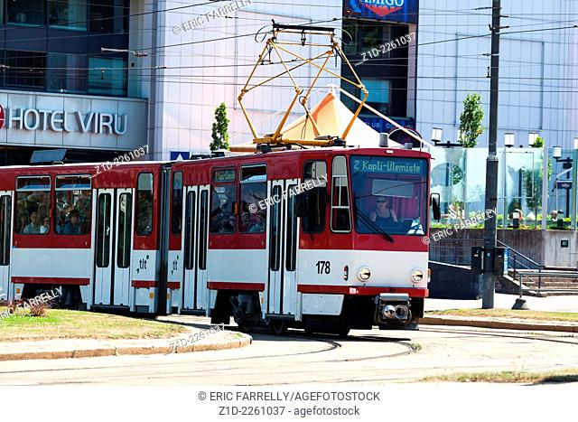 city trams at busy intersection. Tallinn Estonia