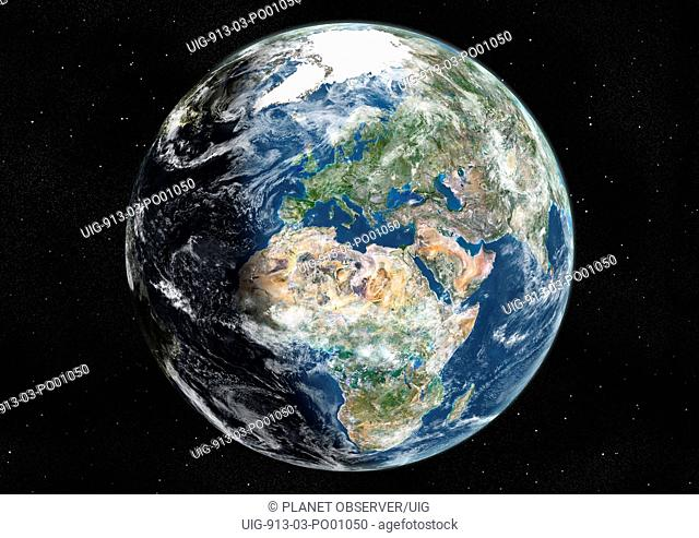 Globe Centred On Europe And Africa, True Colour Satellite Image. True colour satellite image of the Earth centred on Europe and Africa with cloud coverage