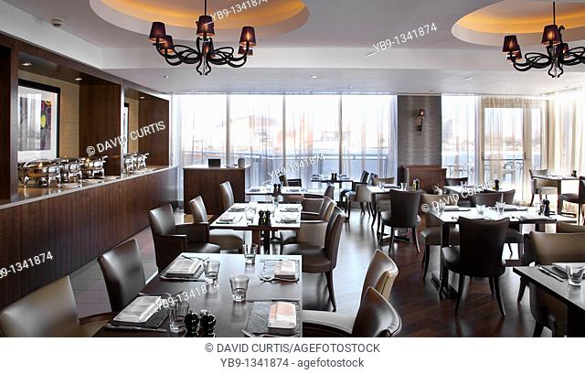 Restaurant at the 5 star St Davids Hotel, Cardiff bay, Wales,UK