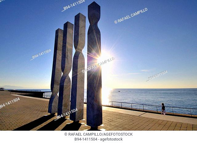 Columns in the area of the W Barcelona hotel (also known as Vela Hotel), Port area, Barcelona, Catalonia, Spain