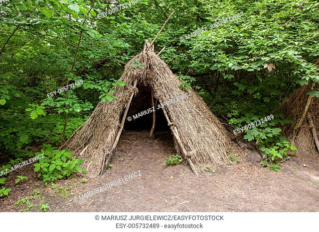 Stone age hunters gatherers encampment in Biskupin archaeological site