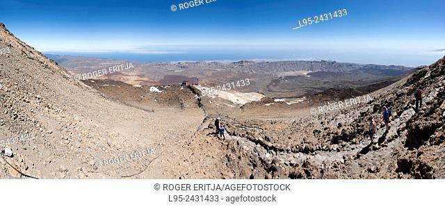 Trail leading to the summit of the Teide volcano from the cable car