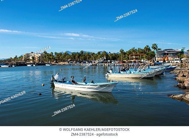 The small harbor of the town of Loreto, Sea of Cortez, Baja California, Mexico