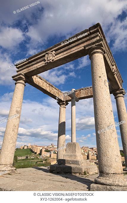 Avila, Avila Province, Spain  The city seen from Los Cuatro Postes  The four pillars