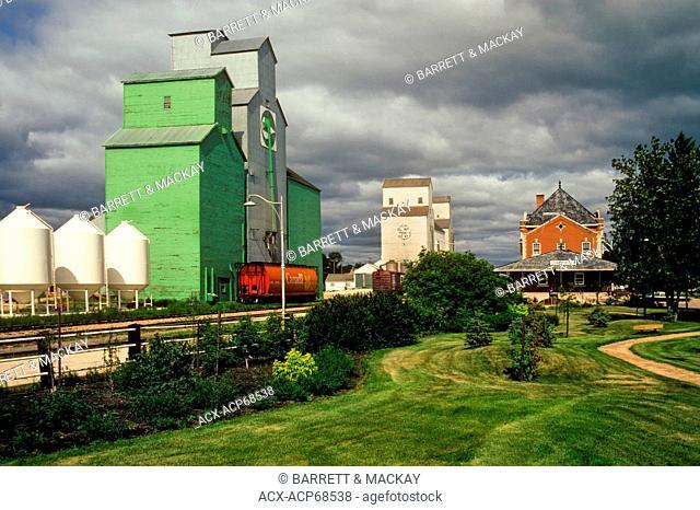 Grain elevators and train station, Dauphin, Canada