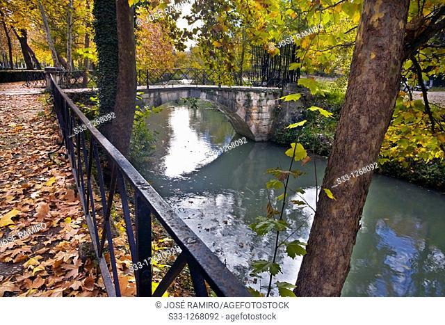 Bridge over the Tajo river in the La Isla garden Aranjuez Madrid Spain