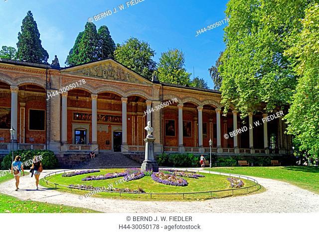 Pump room, monument emperor Wilhelm I, health resort park, Baden-Baden Germany