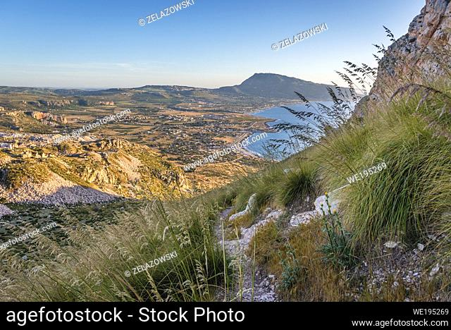 Aerial view from Cofano Mountain in Monte Cofano nature reserve with Corino village in province of Trapani on Sicily Island in Italy