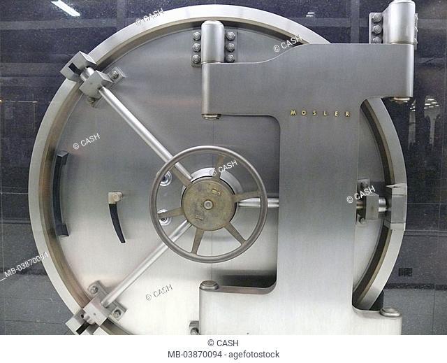 Bank-safe, steel-door, bank, closed safe, vault safe-door access door Schließmechanismus, silvery, massively, trick-palace, protection, money, valuables