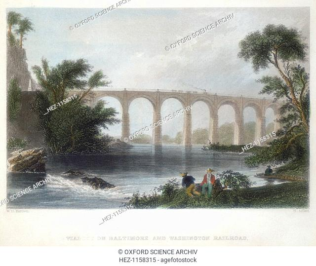 Viaduct on the Baltimore & Washington Railroad, c1838. Illustration after a painting by William Henry Bartlett (1809-1854) who visited the United States in the...
