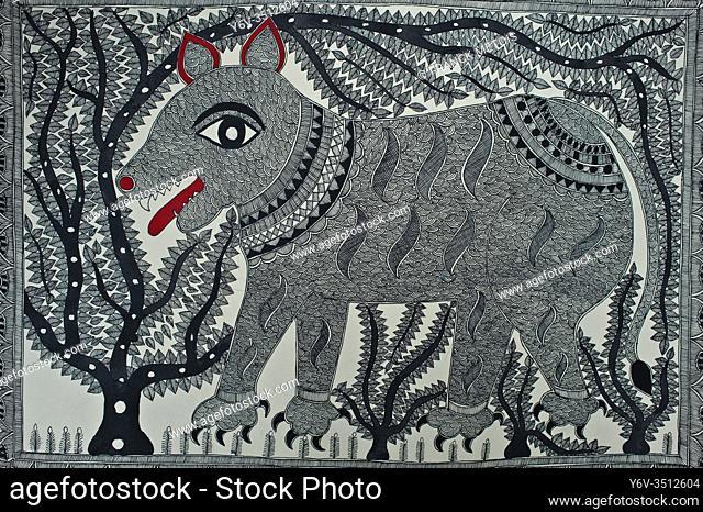 Madhubani painting ( Madhubani, India). The Madhubani ( or Mithila) art is a traditional art form practised in northern India and southern Nepal