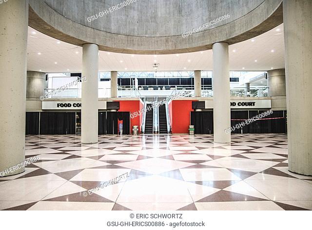 Lower Level Food Court Interior and Escalator, Javits Center, New York City, USA