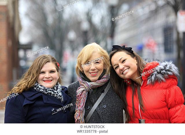 Portrait of three women smiling, Boston, Suffolk County, Massachusetts, USA