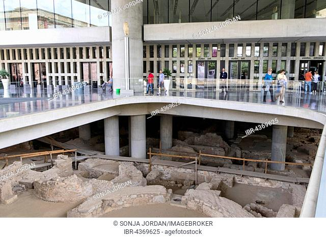 Acropolis Museum, excavations at the entrance, Athens, Greece