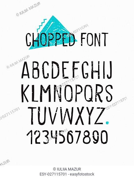 Line simple chopped font. Universal alphabet with capital letters, numbers, design grunge minced elements blue zigzag, triangle, stain, dot
