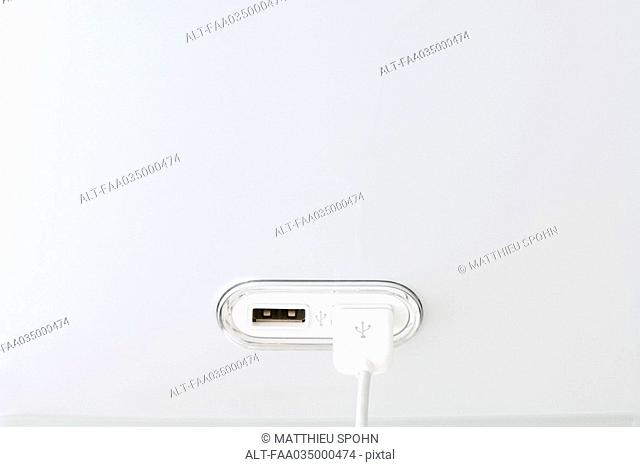 USB cable connected to USB port