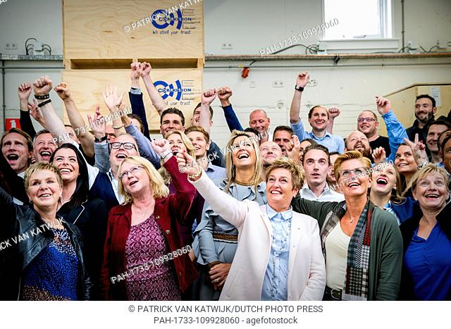 Queen Maxima of the Netherlands attends tje presentation of the annual year report of the SMEs at company Corrosion in Moerkappele, The Netherlands