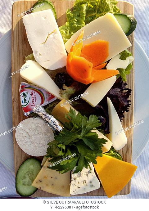 Cheese Board in a Restaurant, Istanbul, Turkey