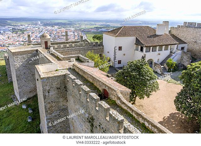 The Castle walls overlooking the city of Elvas, Garrison Border Town of Elvas and its Fortifications, Portalegre District, Alentejo Region, Portugal, Europe