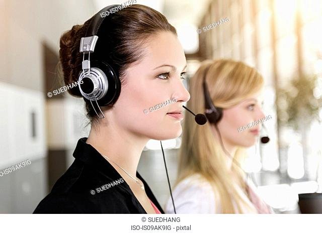 Call centre team wearing headsets