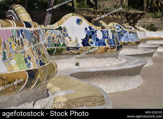 Gaudi's mosaic detail on the terrace seats, Parc Guell, Barcelona, Catalonia, Spain