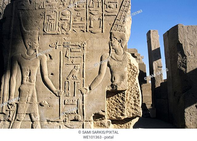 Wall with sculpted hieroglyphs at Karnak Temple, Luxor, Egypt